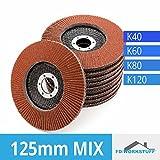 20 Fächerscheiben MIXPACK ( 4x5 Stk ) 125 mm Gemischte Körnung je 5x 40 / 60 / 80 / 120 Standard Fächerschleifscheibe Schleifmopteller Sparpack
