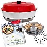 WoC Omnia Spar Set Midi | Omnia Camping Backofen + Omnia Gitter Aufbackgitter + Kochbuch (Neue Auflage) mit 50 Rezepte für die Reise, Caravan & Camping