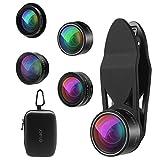 Criacr 5 in 1 Handy Objektiv, Super 198° Fisheye Objektiv + 2X Teleobjektiv + 0.63X Weitwinkelobjektiv + 15X Makro Objektiv + CPL Lens, Handy Kamera Objektiv für Smartphones & Tablet und Anderes
