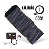 ECO-WORTHY 120W Solar Ladegerät Faltbares und oberflächlich wasserdichtes Solarpanel mit 20A LCD-Kontroller mit USB Tragbares Ladegerät im Koffer für Camper