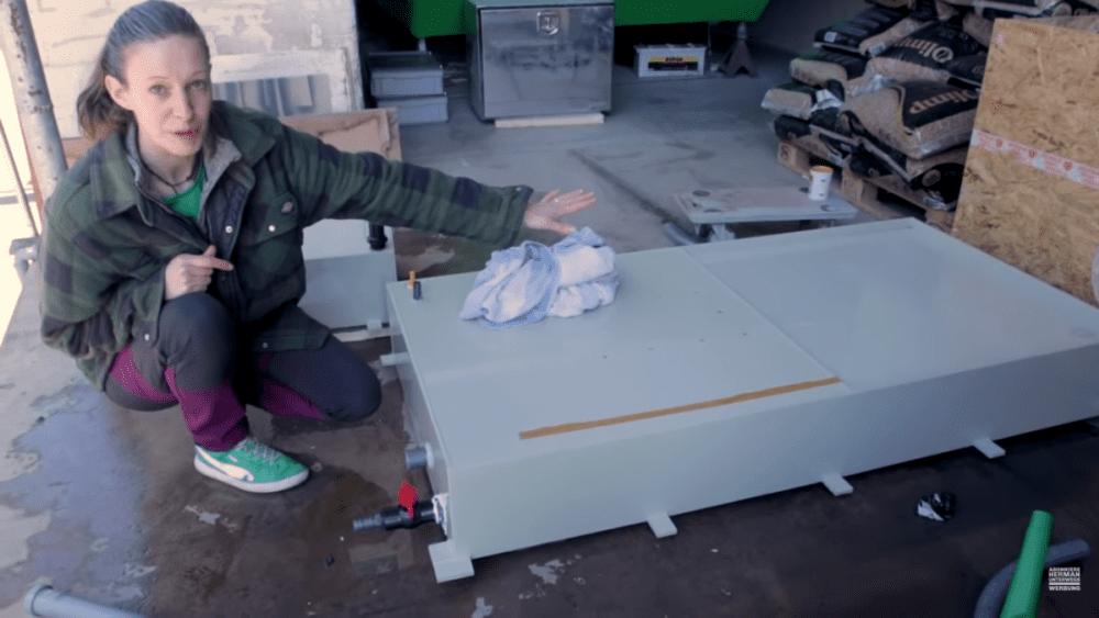Abwassertank Prototyp als Teil unserer Wasserinstallation im Wohnmobil
