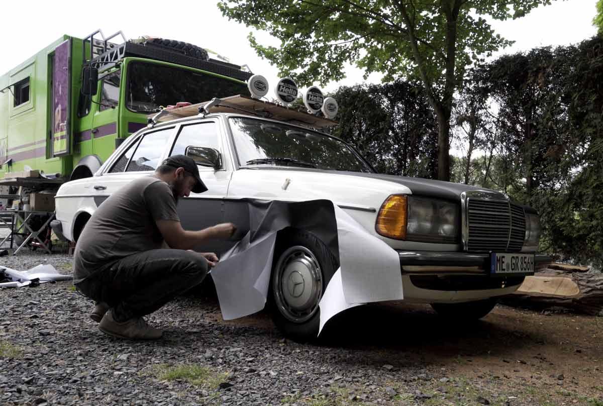 Camper selber folieren - Mercedes W123 wird teilfoliert