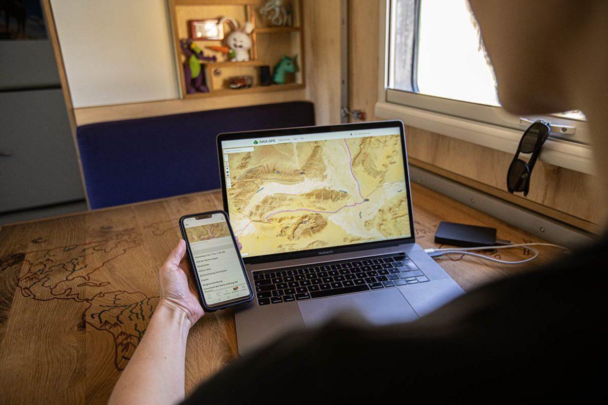 Gaia GPS Navigation zur Planung von Offoradtracks