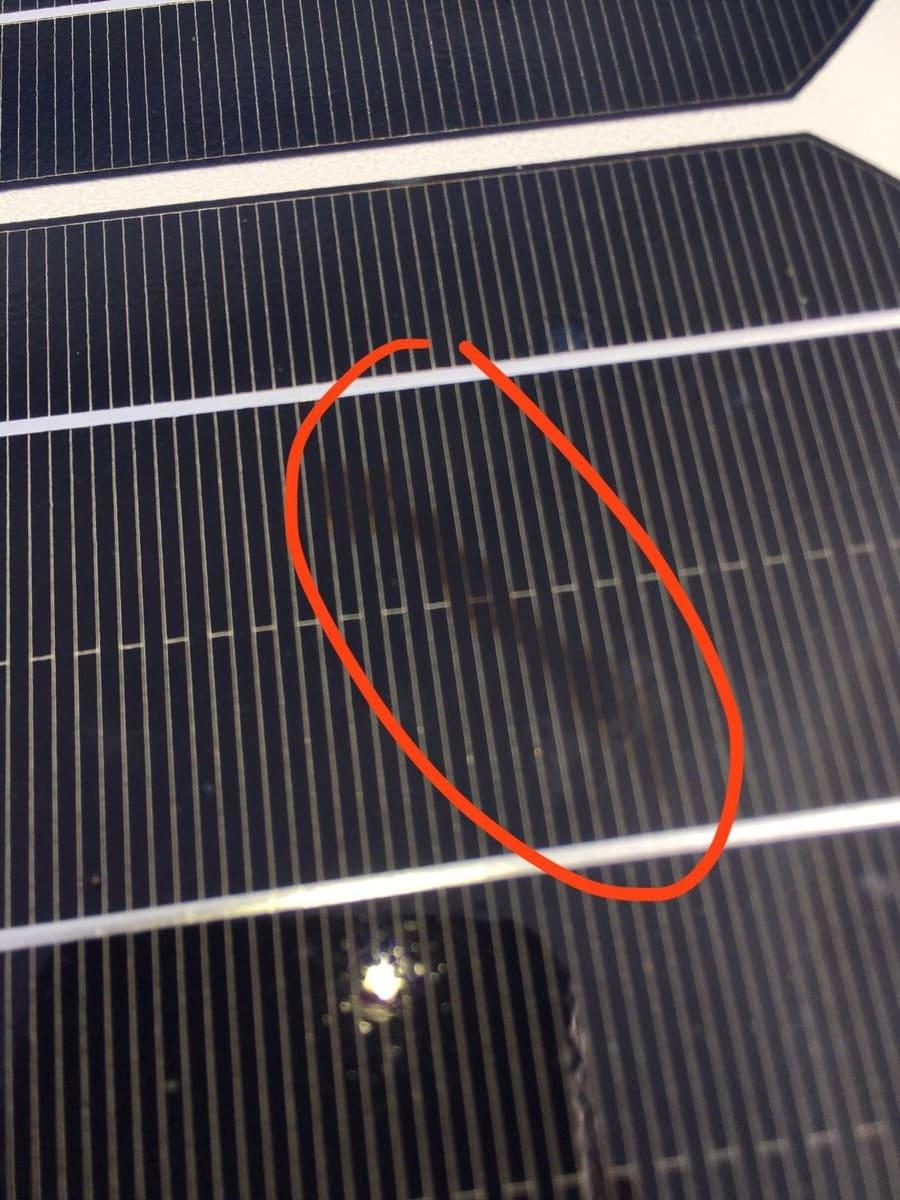 Solarpanel Wohnmobil defekt - Schneckenspuren als äußerliches Anzeichen für Mikrorisse der Solarzelle