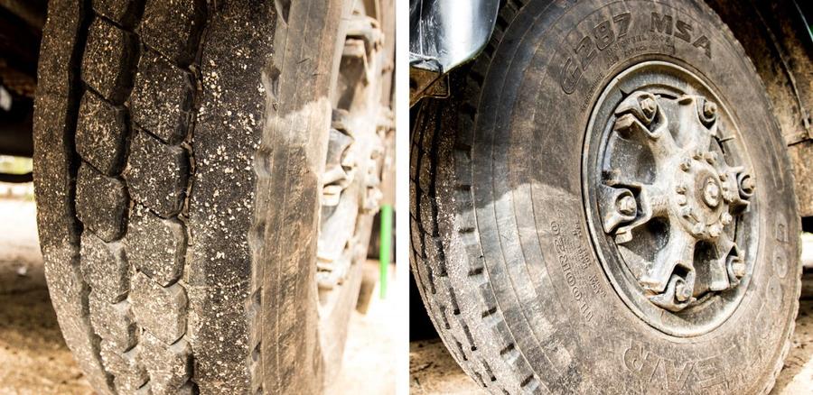 Baustellenprofil auf LKW Reifen